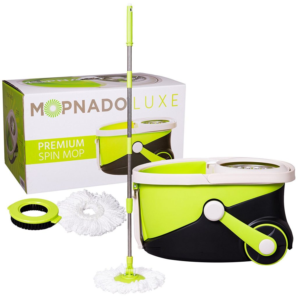 Mopnado Stainless Steel Deluxe Rolling Spin Mop with 2 Microfiber Mop Heads